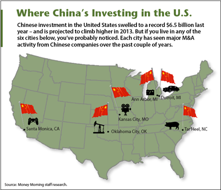 Where China is investing in the US