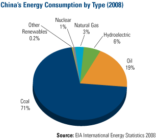 China's Energy consumption by Type (2008)