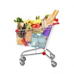 A shopping cart full with groceries