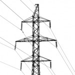 High-tension power line on white isolated background