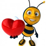 Gold Love bug red heart bee