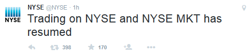 why did the nyse halt trading