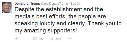Donald Trump tweet establishment