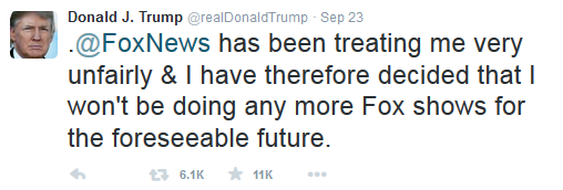 Donald Trump tweet fox news