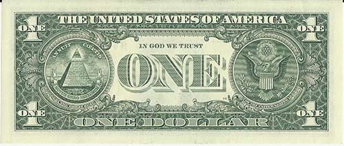The reverse side of a one dollar bill features the Great Seal of the United States of America.