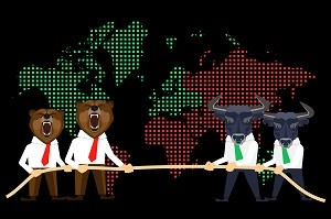 bears and bulls in suits