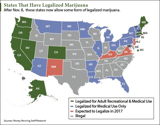 Image result for 2017 map of legal cannabis