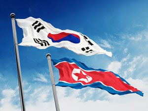 North Korea and South Korea flags