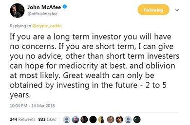 John McAfee: Short-Term Crypto Investors