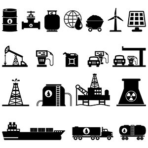 Oil Energy Resources Icons
