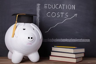 piggy bank next to a n education costs rising chart