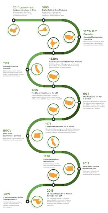 Graphic timeline of the history of cannabis