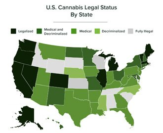Graphic map of U.S. Cannabis legal status by state