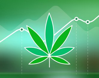 Graphic of marijuana leaf with line chart in the background
