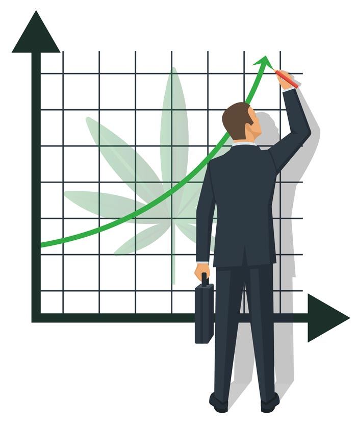 A businessman drawing a positive trend line on a graph representing the upward momentum of the cannabis industry