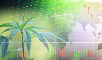 A cannabis leaf imposed over a screen showing stock numbers and charts.