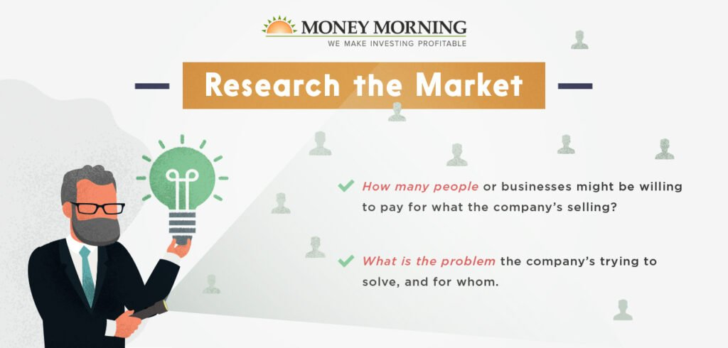 """Key factors to look for in a startup to invest in; #2 """"Research the Market"""" graphic"""