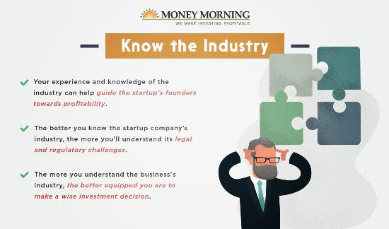 """Key factors to look for in a startup to invest in; #1 """"Know the Industry"""" graphic"""