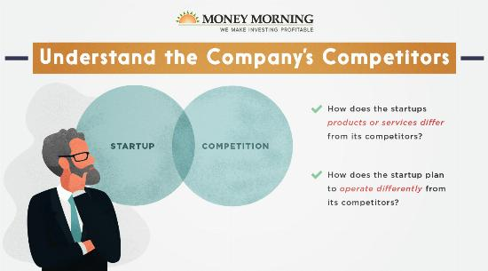 """Key factors to look for in a startup to invest in; #3 """"Understand the Company's Competitors"""" graphic"""