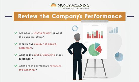 """Key factors to look for in a startup to invest in; #4 """"Review the Company's Performance"""" graphic"""