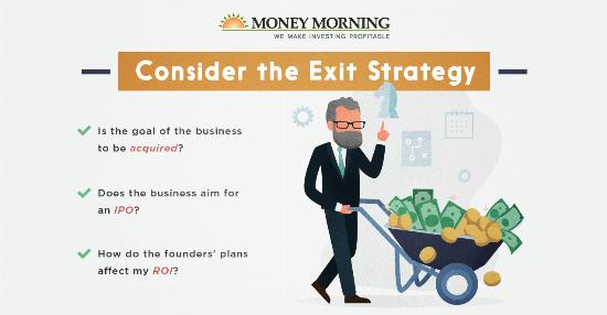 """Key factors to look for in a startup to invest in; #6 """"Consider the Exit Strategy"""" graphic"""