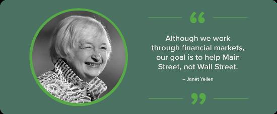 A black and white portrait of Janet Yellen with a quote.