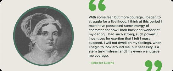 A black and white portrait of Rebecca Lukens with a quote.