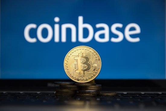 Gold coin with bitcoin symbol and coinbase.